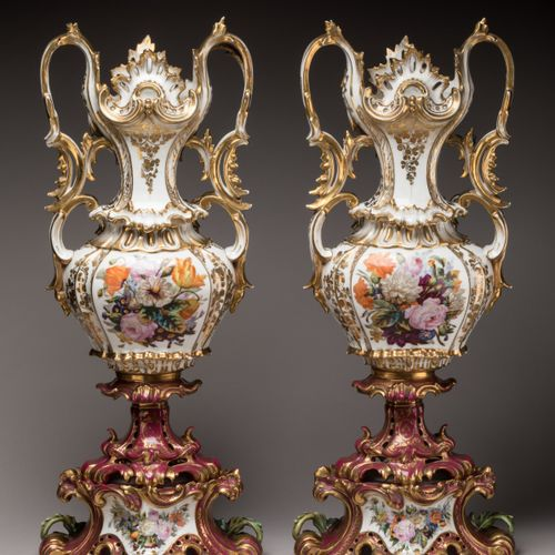 Pair of IMPORTANT VASES to the LOVED SHEPPERS awarded to JACOB PETIT in polychro…