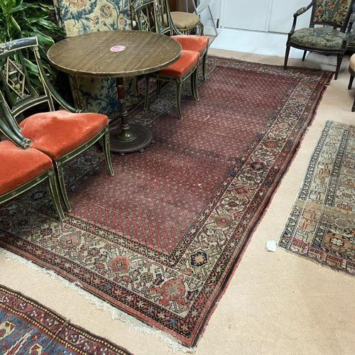 Woollen rug. With red background and geometric patterns. Height. 350, Width. 155…