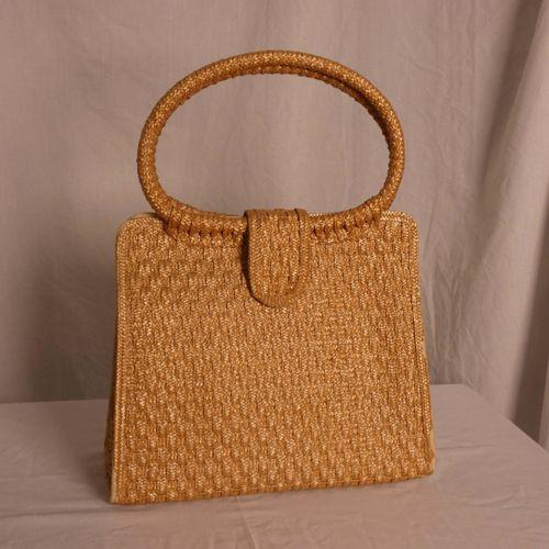 编织的手提包。 尺寸:高45厘米(带手柄),30厘米(不带手柄);长33厘米;最宽处15厘米。 磨损和污渍。按现状出售。 ,不允许看房。 在2021年7月16日…