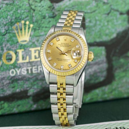 Rolex,Oyster Perpetual, DateJust, réf. 69173/69000A, montre bracelet en acier e…