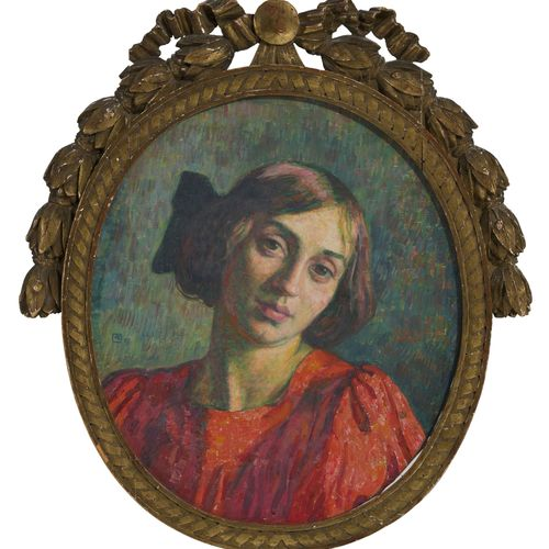Théo Van Rysselberghe (1862 1926), Portrait d'Elisabeth, huile sur toile ovale, …