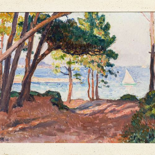 Théo Van Rysselberghe (1862 1926), Pins à Beauvallon, 1925, huile sur carton toi…