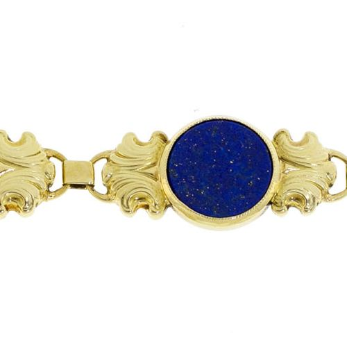 Bracelet or 585 ciselé serti de plaques de lapis lazuli, long. 18 cm, 10g
