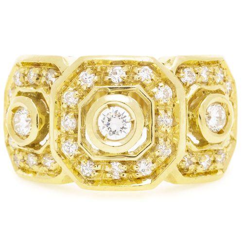 Bague or 750 à motif géométrique sertie de diamants taille brillant, doigt 57 17…