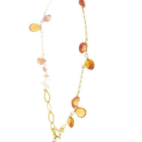 Bracelet or 750 retenant des saphirs oranges taille poire, long. Ajustable max. …