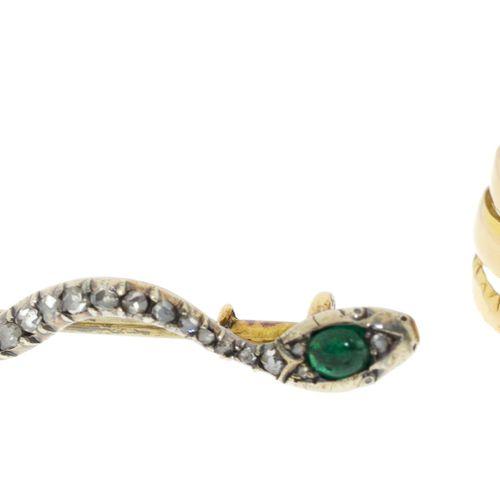 Ensemble composé d'une bague et d'une broche serpents XIXe s., or et argentsert…