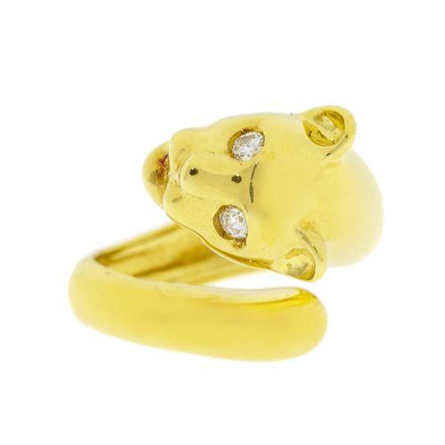 Bague or 750 à tête de panthère, yeux sertis de diamants taille brillant, doigt …