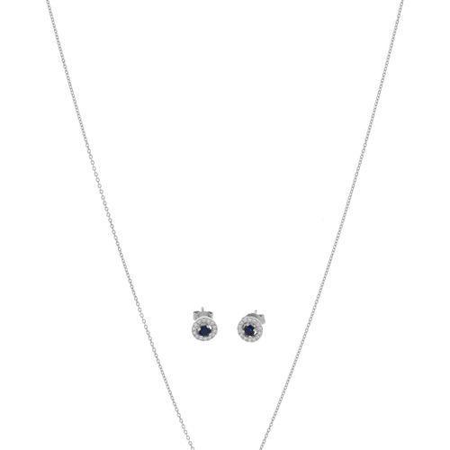 Lot comprenant un pendentif et une paire de boucles d'oreilles or gris 750 serti…