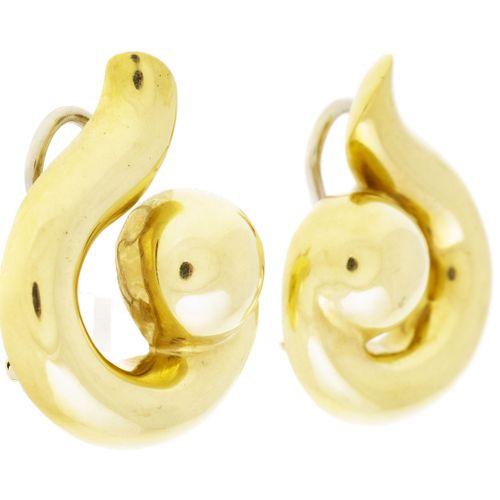 Paire de clips d'oreilles volutesor 750, h. 3 cm, 19g