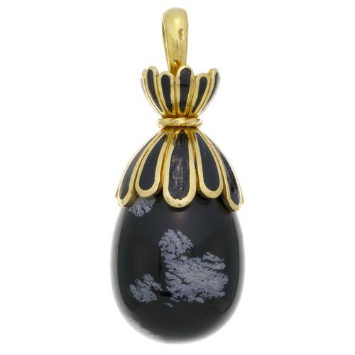 Pendentif 'uf or 750 et émail noir retenant une obsidienne flocons de neige, h. …