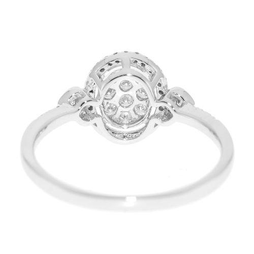 """Bague """"illusion"""" or gris 750 sertie de diamants taille brillant, doigt 53 13"""