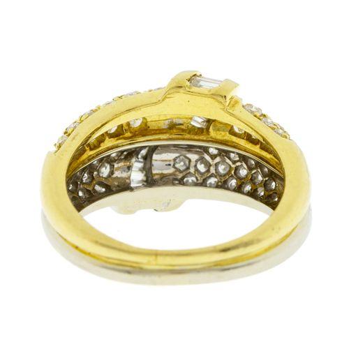 Bague 2 ors 750 sertie de diamants taille baguette, brillant et 8/8, doigt 53 13