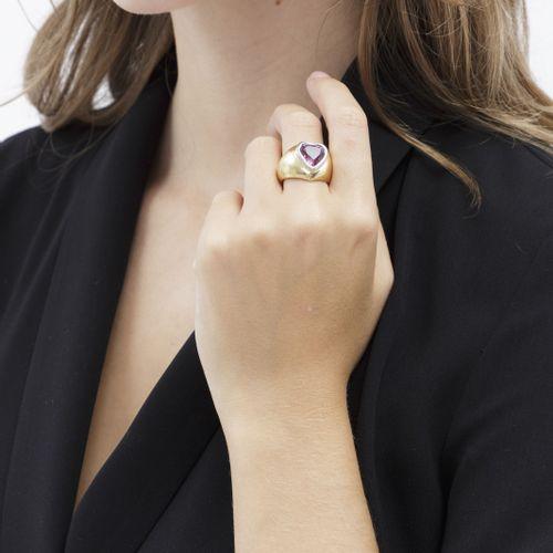 Bague 2 ors 750 sertie d'une tourmaline rose taille c'ur, doigt 54 14, 11 g