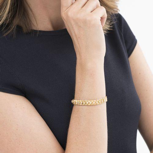 Bracelet or 750 serti de diamants taille brillant, long. 16.5 cm, 27g