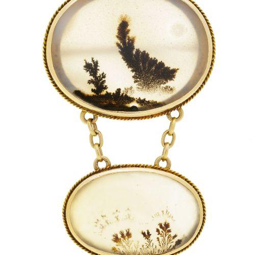 Broche XIXe s. Or 585 sertie d'agates mousse, h. 4.2 cm