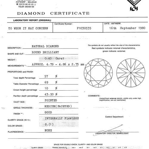 Lot de 3 diamants taille brillant sous scellés, selon certificats IGI datés de 1…