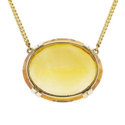 Collier or 585 à maille gourmette serti en son centre d'une citrine taille ovale…