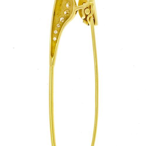 Epingle à nourrice or 750 sertie de diamants taille 8/8, long. 5.5 cm
