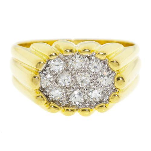 Baguegodronnée 2 ors 750sertie de diamants taille 8/8, doigt 50 10