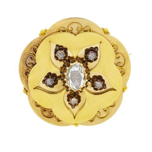 Broche rosace XIXe s.,2 ors 585 et émail noir sertie de diamants taille rose, h…