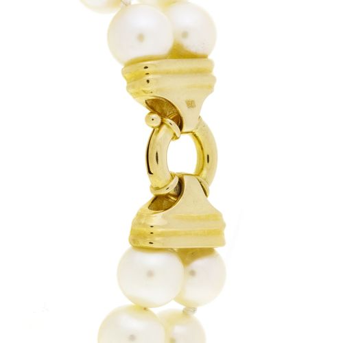 Ensemble composé d'un collier 1 rang et d'un bracelet 2 rangs de perles de cultu…