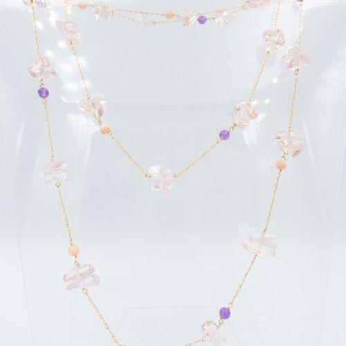 Sautoir or 750 retenant des quartz roses polis alternés de billes d'améthyste et…