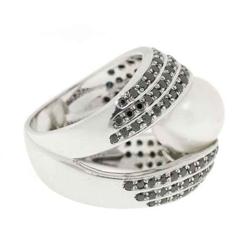 Bague or gris 750 ornée d'une perle de culture blanche épaulée de lignes de diam…