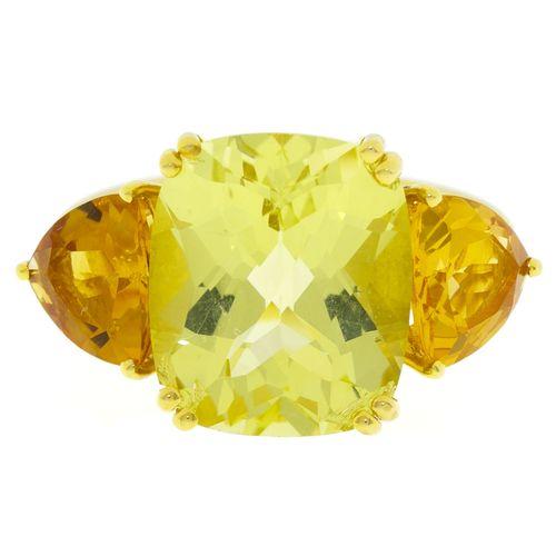 Bague or 750 sertie d'un quartz lemon taille coussin épaulé de citrines taille t…
