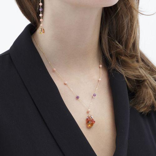 Ensemble d'un collier et d'un paire de pendants d'oreilles or 750 sertis de citr…