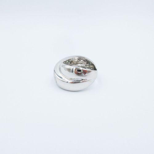 Bague croisée or gris 750 sertie de diamants taille brillant, doigt 54 14, 14g
