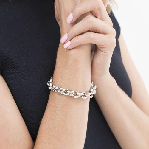 Bracelet or gris 750 à maille jaseron, long. 19 cm, 26g