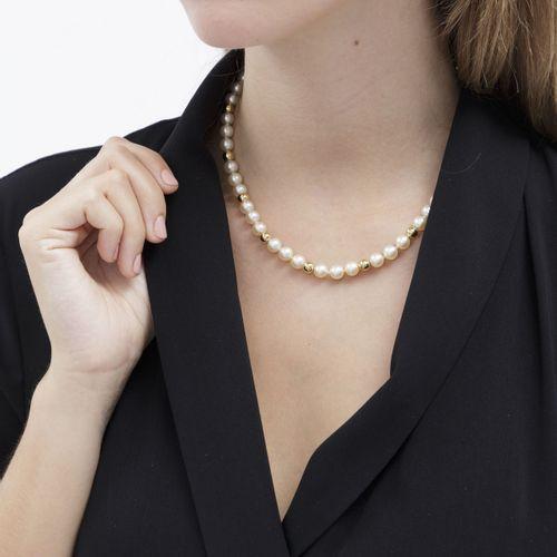 Collier 1 rang de perles de culture blanches alternées de billes en or 750, long…