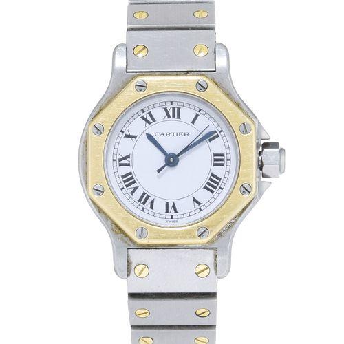 Cartier, Santos, montre bracelet en acier bicoloreMouvement: automatiqueBoîte: n…