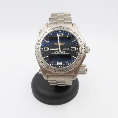 Breitling, Emergency, réf. 363312, montre bracelet en acier avec émetteur d'urge…