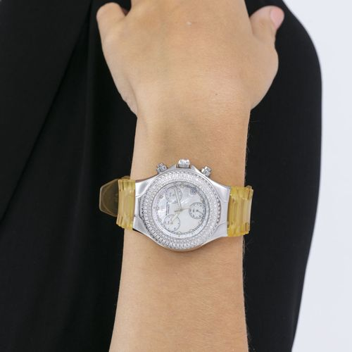 TechnoMarine, TechnoMillennium,TechnoDiamond, montre chronographe en acier avec…