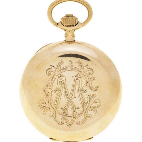 Montre de poche savonnette petite seconde or rose 585 et métal, début XXe s.Mouv…