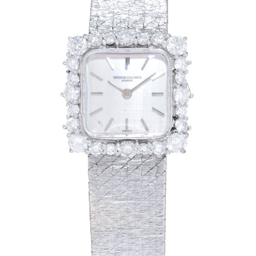 Vacheron Constantin, montre bracelet en or gris 750 sertie de diamants, années 1…