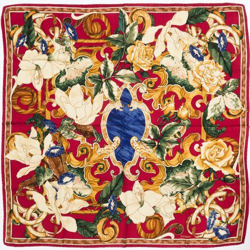 Chanel, carré en twill de soie imprimé de fleurs, fond rouge, 90x90 cm