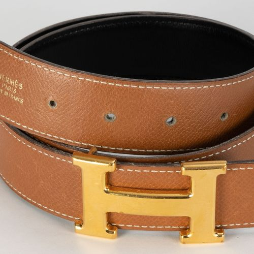 Hermès, boucle H en métal plaqué or, ceinture en cuir Epsom gold piqué seller bl…