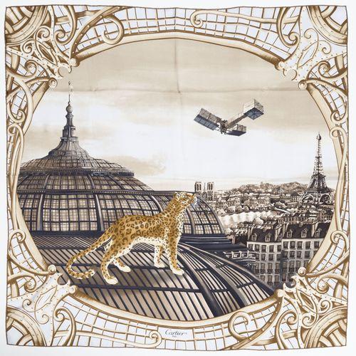Cartier, carré en twill de soie imprimé: L'Odyssée de Cartier, fond beige, boîte…