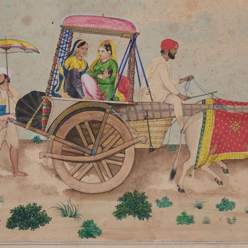 Bishan Singh 牛拉车上的妇女  印度北部,旁遮普,阿姆利则,署名比山 辛格,约1872年。  水粉和金色的卡片纸,描绘了两个女人,其中一个抱着一个孩…