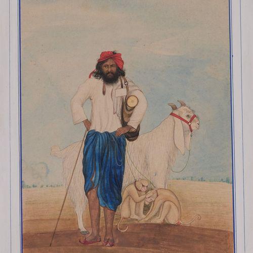 Le dresseur de singes, Inde du Nord, Penjab, vers 1860 80  Gouache sur papier ép…