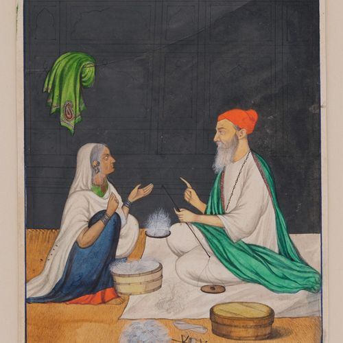 Le marchand de laine, Inde du Nord, Penjab, vers 1860 80  Gouache et or sur papi…