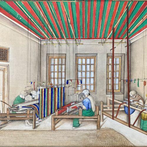 Atelier de tissage, Inde, XIXe.  Gouache sur papier.    Dimensions : 31 x 40 cm …