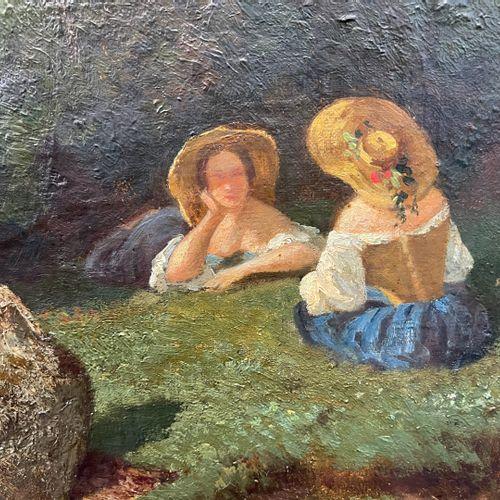 FANART Antonin (Besançon, 1831 Besançon, 1903). Les baigneuses. Huile sur toile.…