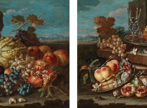 Pietro Navarra (Rome active dans la seconde moitié du XVIIe siècle) Pêches, figu…