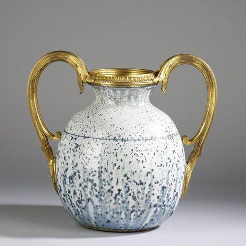 A large vase with gilt bronze handles, Atelier de Glatigny, c. 1900 white stonew…