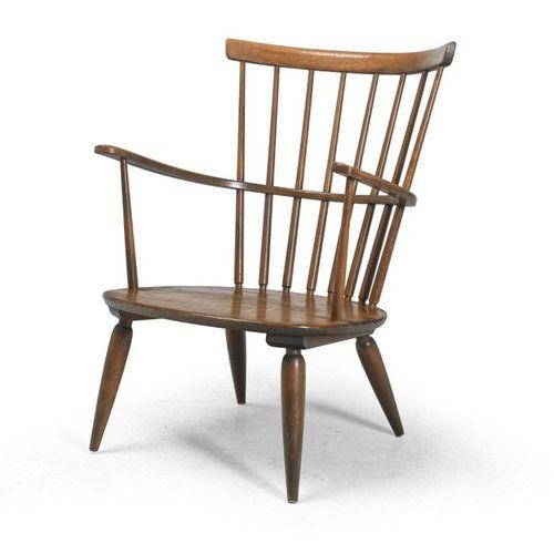 Franz Schuster, an armchair, model number: 1652, Vienna, 1952 beechwood, brown s…