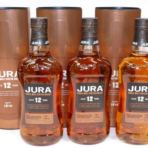 3 Btles Jura Single Malt Scotch Whisky 12 years old in cases, one of which is sl…