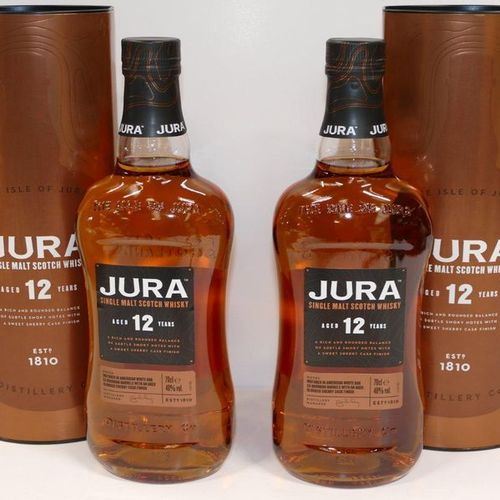 2 Btles Jura Single Malt Scotch Whisky 12 years old in cases Vat included and re…